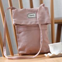 新款原创韩国帆布包女斜挎包迷你可爱学生小包包手机包简约单肩包 粉色