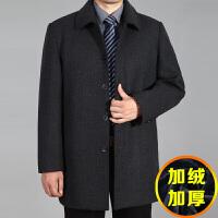 秋冬季中年男士羊毛呢外套加厚中老年男装翻领宽松夹克爸爸装大衣