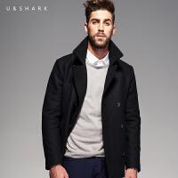 优鲨秋冬男士新品羊毛呢大衣韩版修身双排扣呢子外套男潮