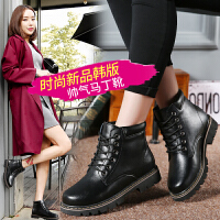 流行女鞋加绒高帮女短靴韩版真皮系带马丁靴平底小皮鞋加棉