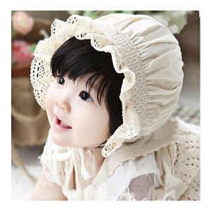 货到付款 Yinbeler花边弹力儿童帽宝宝公主遮阳帽防晒护耳包头帽蕾丝镂空儿童帽
