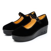 新款老北京布鞋女鞋厚底单鞋台高松糕底透气工作黑布鞋 黑色
