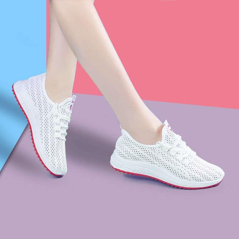 透气运动鞋白色网鞋夏季2019新款内增高网面老爹休闲镂空跑步女鞋