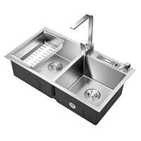 厨房洗菜盆双槽 304不锈钢水槽洗碗槽家用水池洗碗池洗菜池台下盆kb6