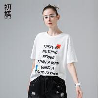 初语夏季新款女装圆领字母印花宽松短袖T恤女纯棉文艺休闲上衣潮
