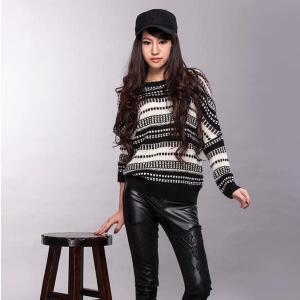 秋冬拼色毛衣针织衫女套头宽松厚款外套长袖韩版蝙蝠衫上衣