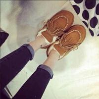 韩版流苏雪地靴平底豆豆鞋短靴女鞋冬季女加绒棉鞋毛毛保暖面包鞋
