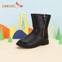 【1件2折后:35.8元】红蜻蜓简约纯色拉链时尚圆头保暖低跟女童中大童儿童短靴