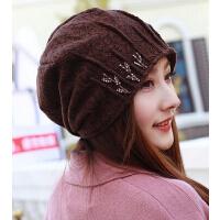 韩版时尚加厚保暖女帽护耳帽 蕾丝水钻包头光头孕妇帽头巾帽