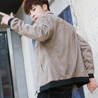 男士外套春秋韩版潮流帅气休闲修身棒球上衣服秋季鹿皮绒夹克男装