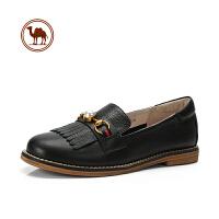 骆驼牌女鞋春季新品时尚英伦风平跟单鞋女舒适真皮休闲鞋女鞋