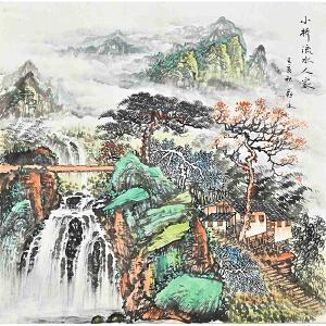 当代著名画家薛永69 X 69CM山水画gs01437