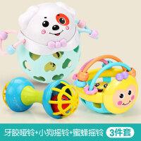 手摇铃玩具婴儿童0-1岁宝宝手抓可咬软胶男孩女孩益智