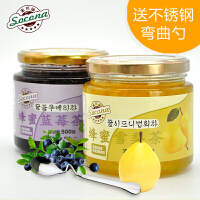 送弯曲勺 Socona蜂蜜蓝莓茶500g+雪梨茶500g韩国风味水果酱冲饮品