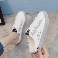 夏季新款半拖帆布鞋女韩版学生板鞋无后跟一脚蹬懒人鞋百搭小白鞋 灰色 亮片款