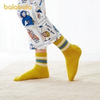 巴拉巴拉儿童袜子棉春季新款男童短袜男孩棉袜小童保暖舒适5双装