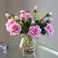 假花玫瑰花餐桌装饰花情人节礼品摆件