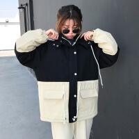 2018新款韩版bf宽松收腰加厚工装女中长款棉衣外套学生冬季 均码