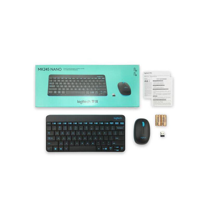 罗技 MK245 NANO窄边框无线键盘鼠标套装 笔记本一体机外接无线键鼠套件 MK245