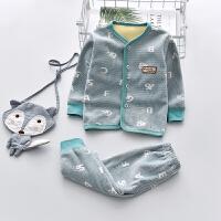 婴儿保暖内衣套装加绒加厚秋冬季纯棉0一1岁男宝宝幼儿秋衣秋裤女