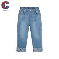 巴拉巴拉旗下棵棵树童装2021年春季新款女中大童撞色拼接时尚洋气潮流牛仔长裤