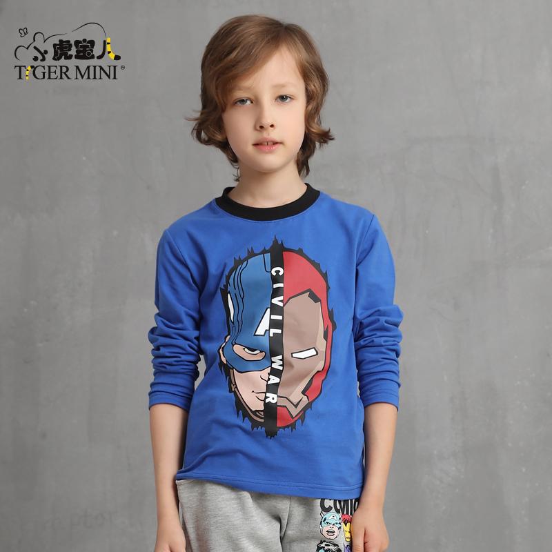 男童长袖T恤弹力莱卡 中大童8卡通英雄体恤9儿童韩版10岁秋装童装领券更优惠