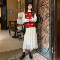 韩版晚秋两件套洋气俏皮毛衣网纱裙秋冬女神御姐很仙的套装女学生