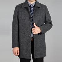 新款男装羊毛呢子夹克男士翻领加厚外套秋冬季中年爸爸装大码茄克 浅灰色 1301款