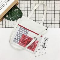 手提包女款手拎包韩版透明果冻包学生帆布包女单肩百搭休闲手提包 字母