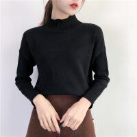 毛衣女半高领套头宽松秋冬装新款韩版纯色加厚学生长袖针织打底衫 黑色 均码