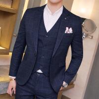 长袖伴郎休闲秋冬新款英伦风格子商务结婚礼服男士西装三件套