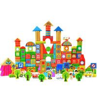 木制190粒多功能搭建积木玩具亲子早教益智儿童场景认知玩具