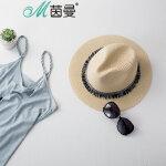 茵曼遮阳帽女士沙滩帽春夏太阳帽防晒防紫外线帽子【1872190059】