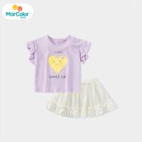 【1件4折】马卡乐童装22夏季新款甜美时尚可爱套装中小女童上衣短裙两件套
