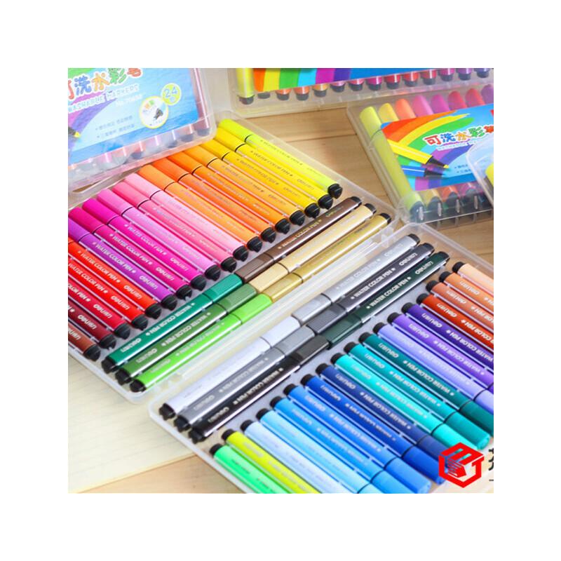 【单件包邮】文曦可水洗水彩笔 三角正姿笔杆大容量粗笔画水彩笔儿童无毒画笔大容量三角杆水彩笔