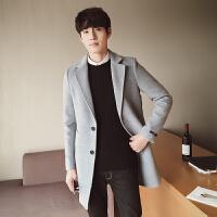 秋冬冬季男士纯色外套风衣毛呢布中长款修身青年翻领韩版