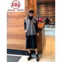 秋冬女装韩版中长款宽松打底裙纯色半高领长袖连衣裙长裙学生裙子 均码