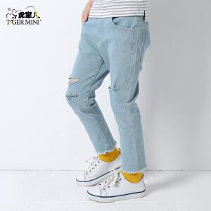 小虎宝儿童装男童裤子 儿童直筒牛仔裤休闲 2018春季新款韩版潮