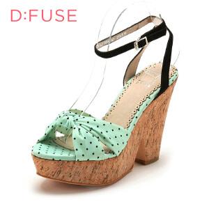 【3折到手价128.7元】D:Fuse/迪芙斯夏款高跟羊皮色拼接时装凉鞋女鞋DF42110056