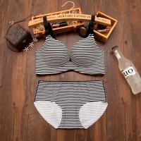 一片式无钢圈调整型文胸套装厚薄款 少女性感内衣内裤聚拢小胸罩