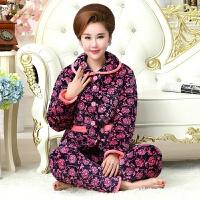 睡衣女冬季珊瑚绒三层夹棉中老年加绒加厚冬款棉袄保暖家居服套装