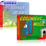 英文原版绘本0 3岁 Goodnight Moon 晚安月亮 逃家小兔 The Runaway Bunny 2册盒装
