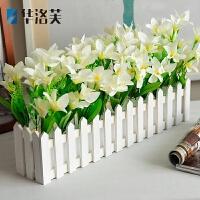 假花盆栽塑料花栅栏小盆景室内装饰花卉仿真花束小摆设客厅塑胶花J 浅灰色 50CM白色百合