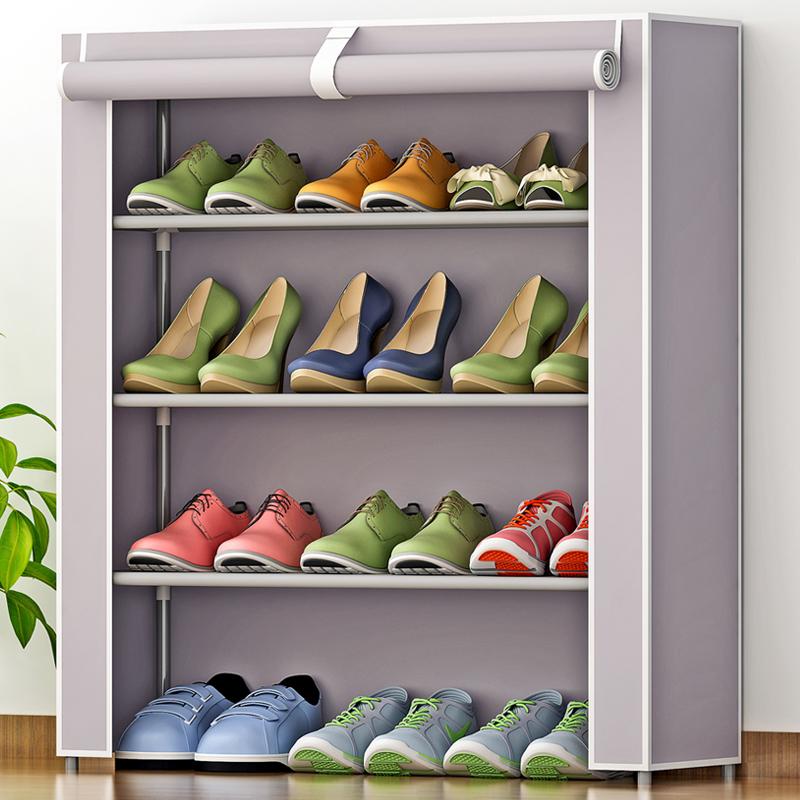索尔诺简易防尘鞋架 加厚无纺布鞋柜 组合4层鞋橱省空间 防潮防尘 居家好帮手
