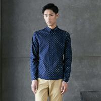 美特斯邦威长袖衬衫男士秋装印花弹力修身衬衣学生青年商务寸衫