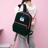 书包女学生日韩版帆布高中生纯色休闲双肩包男大容量校园旅行背包