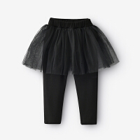 女童裤子2018春款打底裤女孩假两件裙裤网纱新款长裤子韩版外穿薄