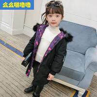 么么哒噜噜 2017新款冬季女童棉衣儿童棉袄童装8中大童冬装中长款外套