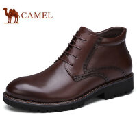 camel 骆驼男鞋 加绒保暖复古休闲皮靴防滑商务休闲打蜡皮鞋