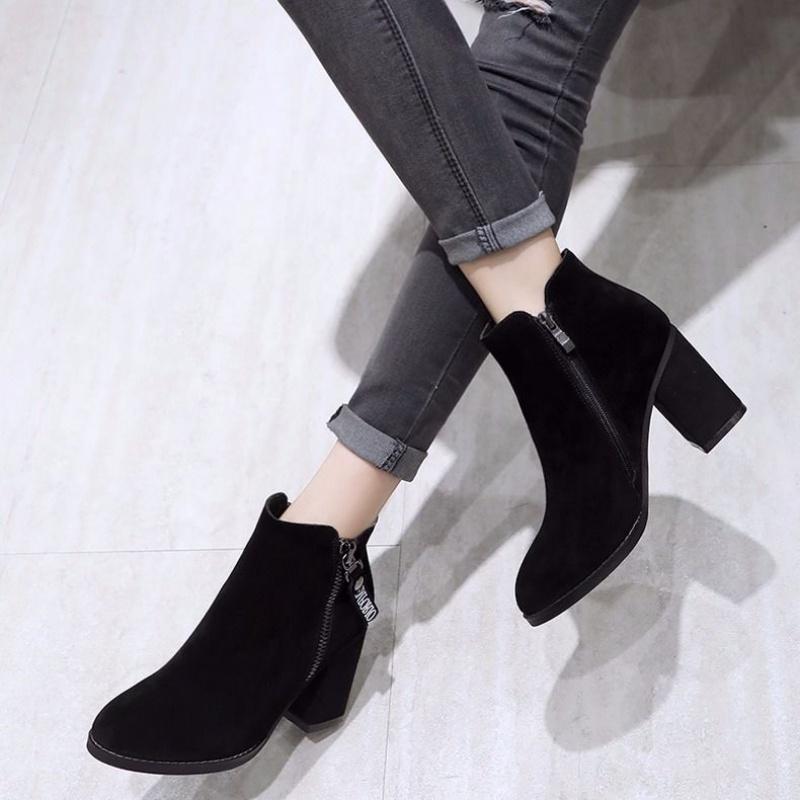 韩版粗跟短筒靴中跟圆头时装鞋磨砂女单靴百搭女春秋裸靴春秋女鞋